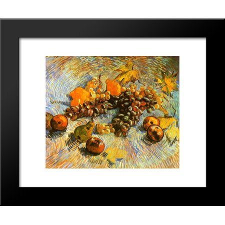 Still Life with Apples, Pears, Lemons and Grapes 20x24 Framed Art Print by Vincent van Gogh