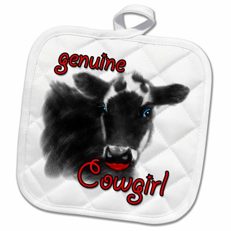 Cow Eye - 3dRose Genuine Cowgirl Cute Cow with Eye Shadow and Lipstick - Pot Holder, 8 by 8-inch
