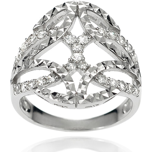 Brinley Co. Women's CZ Sterling Silver Celtic Knot Ring
