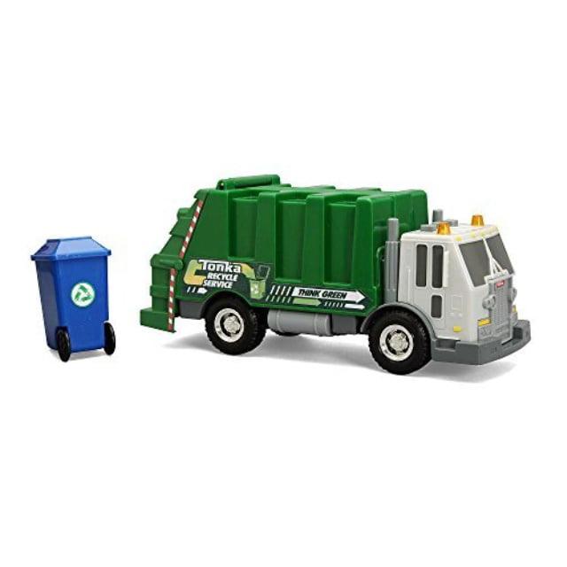new! tonka rescue force garbage truck w/lights & sound green sanitation dept