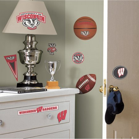 Roommates university of wisconsin peel and stick wall for Peel and stick wallpaper walmart