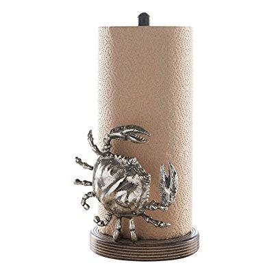 Sculpted Crab Paper Towel Holder Mango Wood Coastal Kitchen Counter Mud Pie