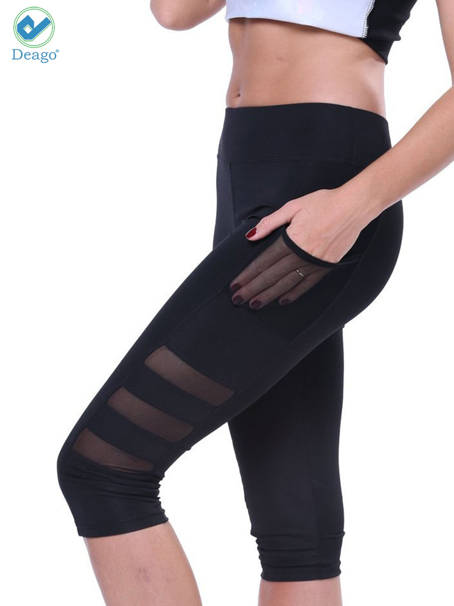 Women Maternity Workout Running Yoga Pants Side Mesh Active Leggings with Pockets