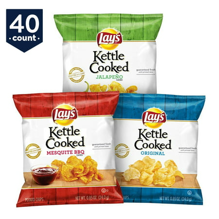 Lay's Kettle Cooked Potato Chips Variety Snack Pack, 40 Count (No Cook Halloween Snacks)