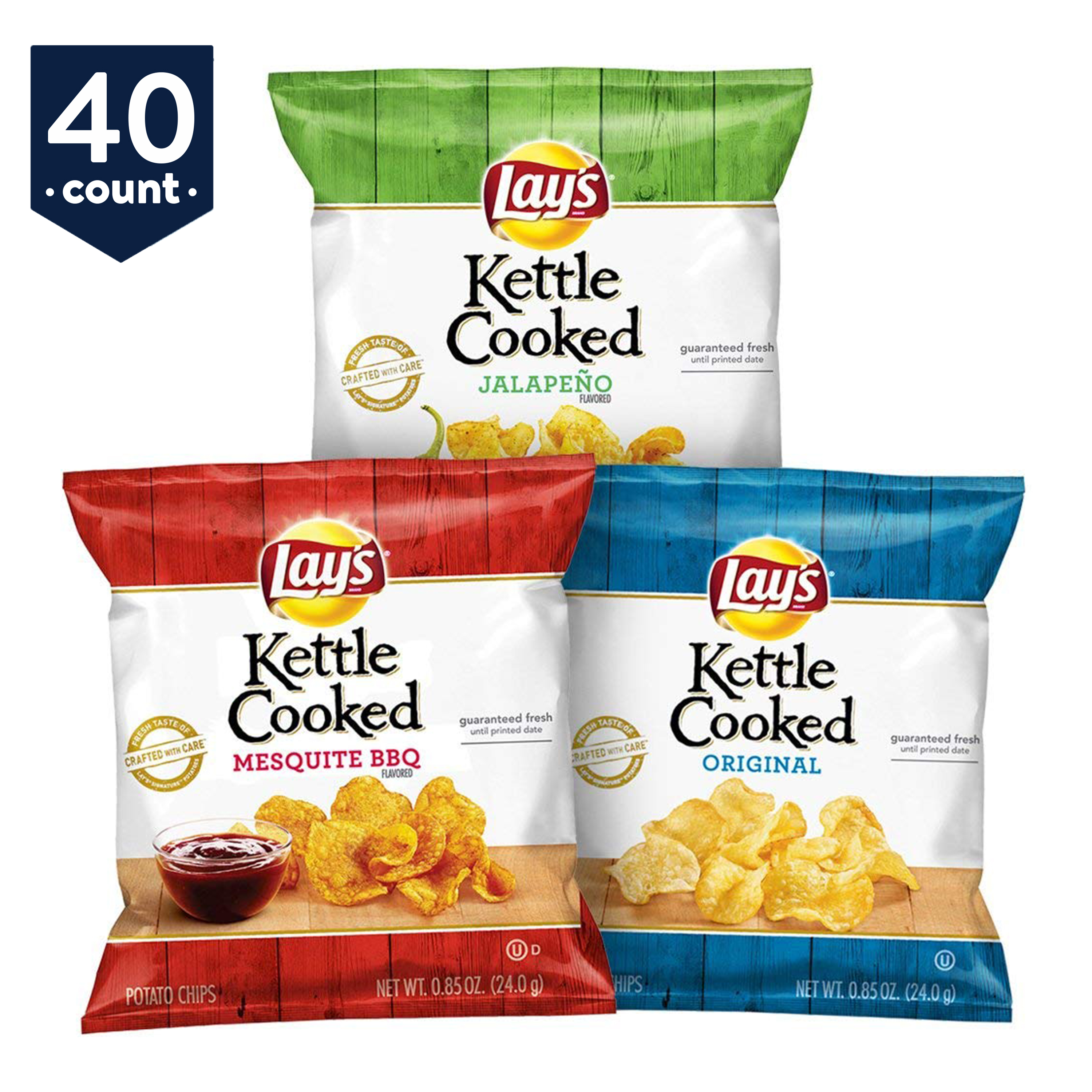 Lay's Kettle Cooked Potato Chips Variety Snack Pack, 40 Count