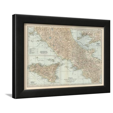 Map of Italy. Central and Southern Part. Insets of Sicily (Sicilia) and Naples (Napoli) Framed Print Wall Art By Encyclopaedia Britannica
