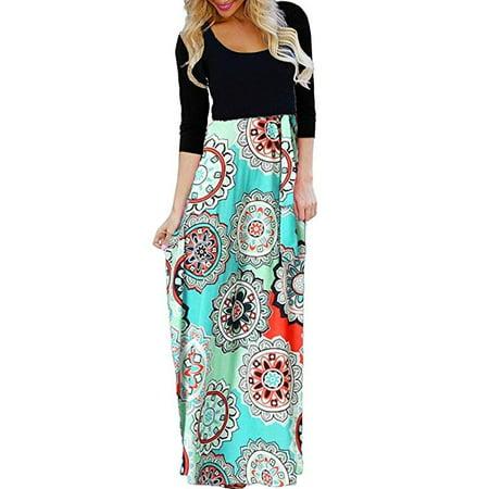 7142e5cd5c07 FRESHLOOK - Women s Ethnic Style Floral Print Tank Dress Geometric Party  3 4 Sleeve Long Maxi Dresses - Walmart.com