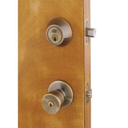 Home Plus Tulip Knob and Deadbolt Set Antique Brass Steel 3 Grade Left Handed, Right Handed