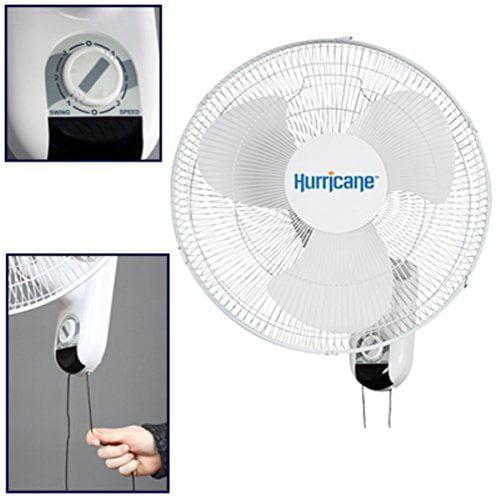 2 X Hurricane Classic 16-Inch Wall Mount Oscillating Fan by Hurricane Fans