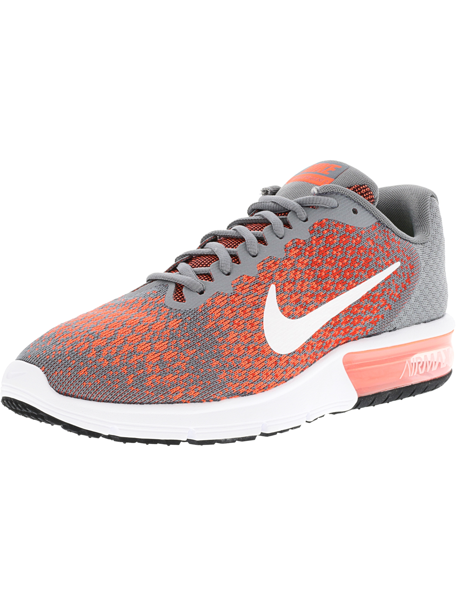 Nike Men's Air Max Sequent 2 Cool Grey / White-Max Orange Ankle-High Running Shoe - 10.5M