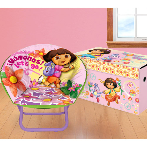 Nickelodeon - Dora Bedroom/Playroom Accessories Set including a Collapsible Storage Trunk and Saucer Chair- Value Bundle
