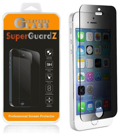 For iPhone SE / 5S / 5C / 5 - SuperGuardZ Privacy Anti-Spy Tempered Glass Screen Protector, 9H, Anti-Scratch, Anti-Bubble, (Best Privacy Screen Protector For Iphone 5s)