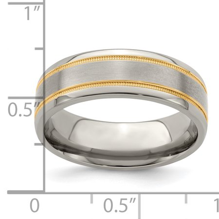 Edward Mirell Titanium &14k Satin & Polished Millgrain 7mm Band Ring Wedding Man Classic Milgrain Precious Metal Fine Jewelry For Dad Mens Gifts For Him - image 8 de 10