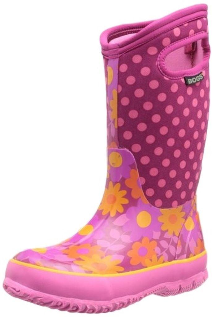 """Bogs Boots Boys Kids Girl 10"""" Flower Dots Rubber Waterproof 71436 by Bogs"""