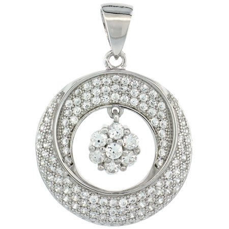 Sterling Silver Micro Pave Cubic Zirconia Double Half Moon Centered Dangling Flower Pendant White Stones