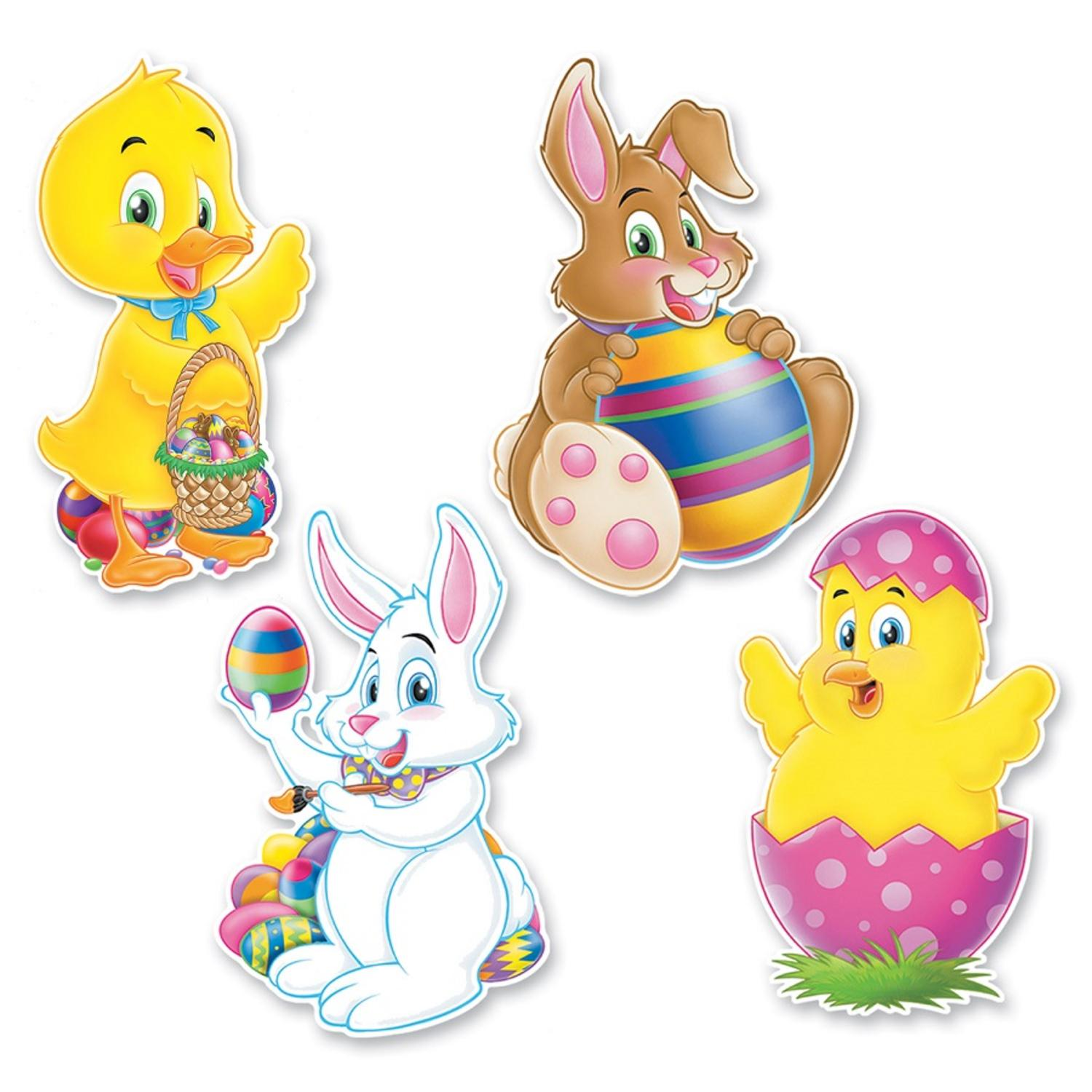 """Club Pack of 48 Bunny and Chick Printed Cutouts Easter Decorations 14"""""""