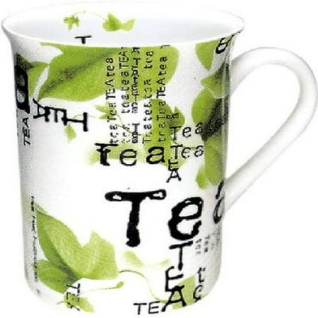 Konitz Tea Collage 10-Ounce Mugs, Set of 4, White/Green