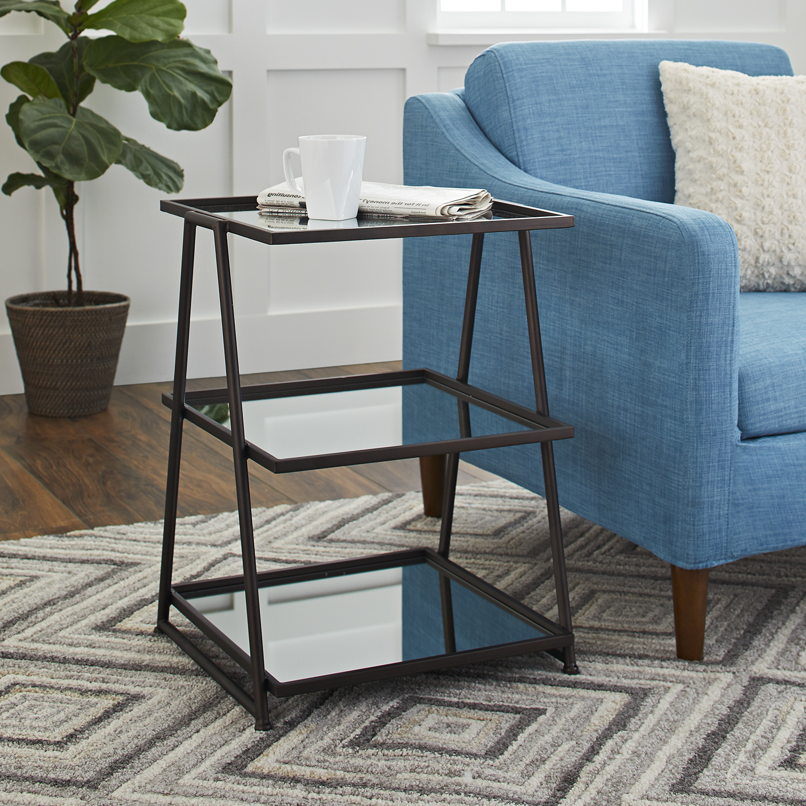 Better Homes and Gardens Metal & Mirrored 3 Shelf Accent Table, Gunmetal
