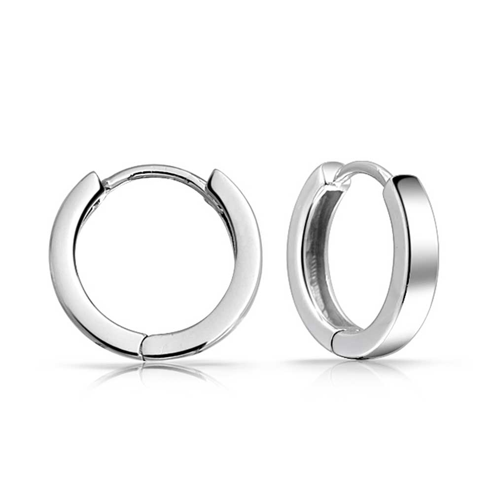 Bling Jewelry Mens Mini Sterling Silver Huggie Hoop Earrings