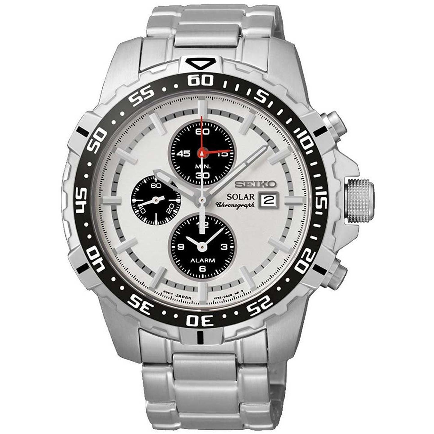Seiko Men's 45mm Grey Steel Bracelet & Case Automatic White Dial Chronograph Watch SSC297P1 by Seiko