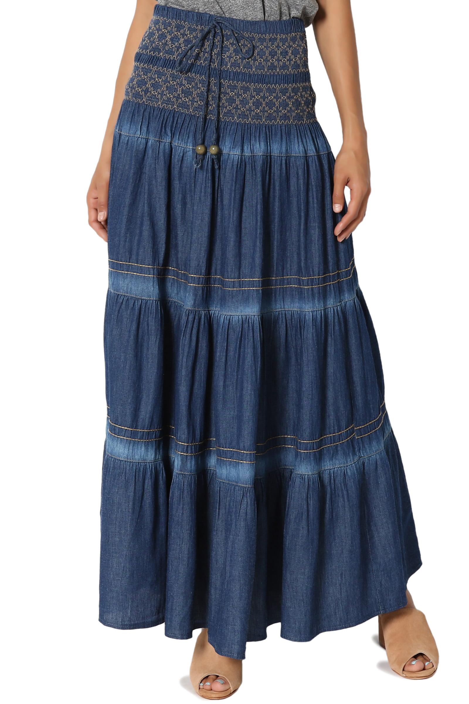 TheMogan Women's Embroidered Tiered A-Line Elasticized High Waist Long Full Maxi Skirt