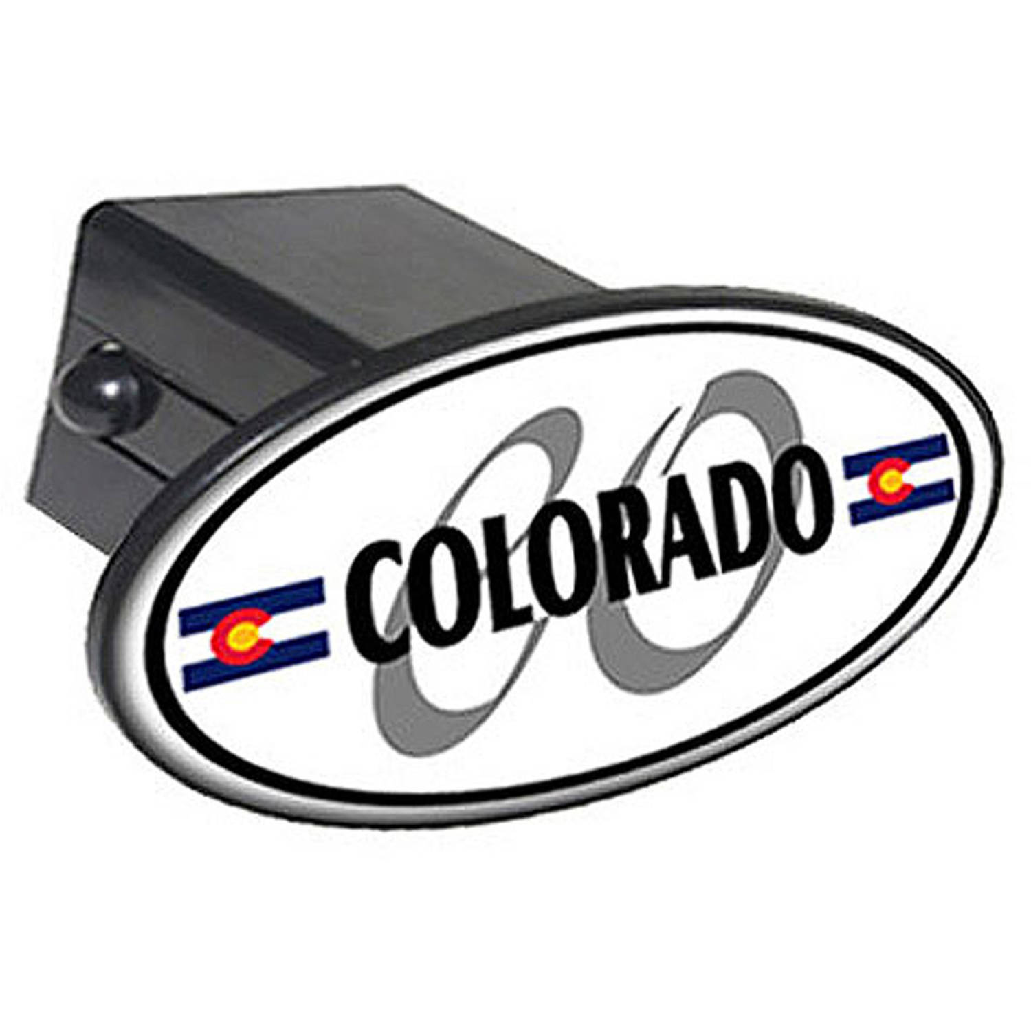 "Colorado Euro Oval Flag 2"" Oval Tow Trailer Hitch Cover Plug Insert"