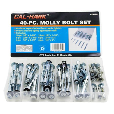 Locking Steel Bolts - Cal-Hawk #CZMBS 40pc Molly Bolt Set, Zinc plated steel collapsing anchors and attachment screws By Cal Hawk Tools