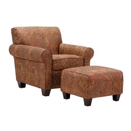 Handy Seat - Handy Living  Mira 8-way Hand-tied Paisley Arm Chair and Ottoman