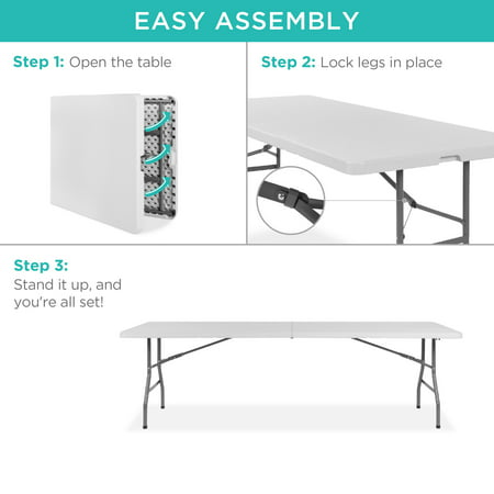 Best Choice Products 8ft Indoor Outdoor Portable Folding Plastic Dining Table w/ Handle, Lock for Picnic, Party, Camping