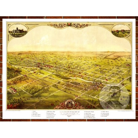 Ted\'s Vintage Art Map of Lansing, MI 1866; Old Michigan Decor 18\