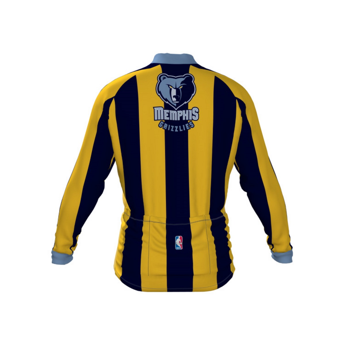 VOmax Mens NBA Memphis Grizzlies Striped Long Sleeve Cycling Jersey