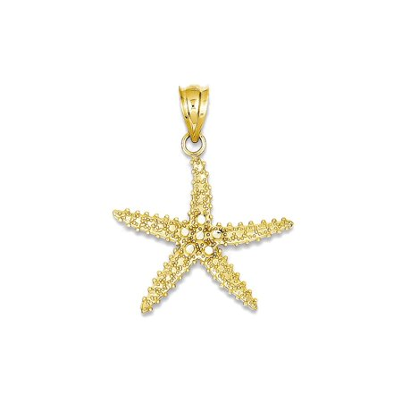 Gold Starfish Charm - 14K Yellow Gold Pointy Starfish Charm Pendant - 21mm