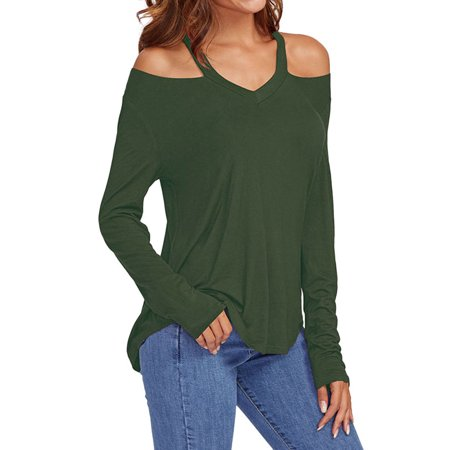 Women's Solid Color Cold Shoulder Halter Long Sleeve -