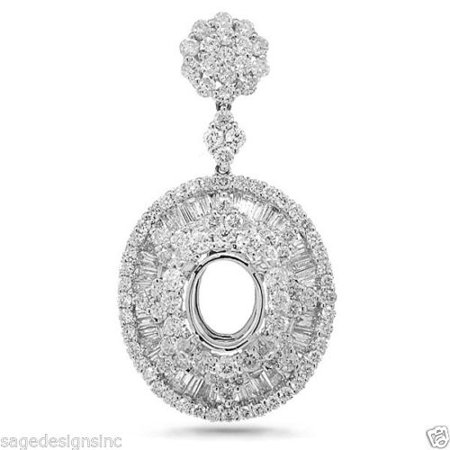 8x6mm Oval Setting (2.46CT 18K White Gold 8x6mm Oval Semi Mount Diamond Pendant Necklace Setting)