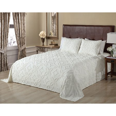 OMAN CHENILLE BEDSPREAD QUEEN IVORY ()
