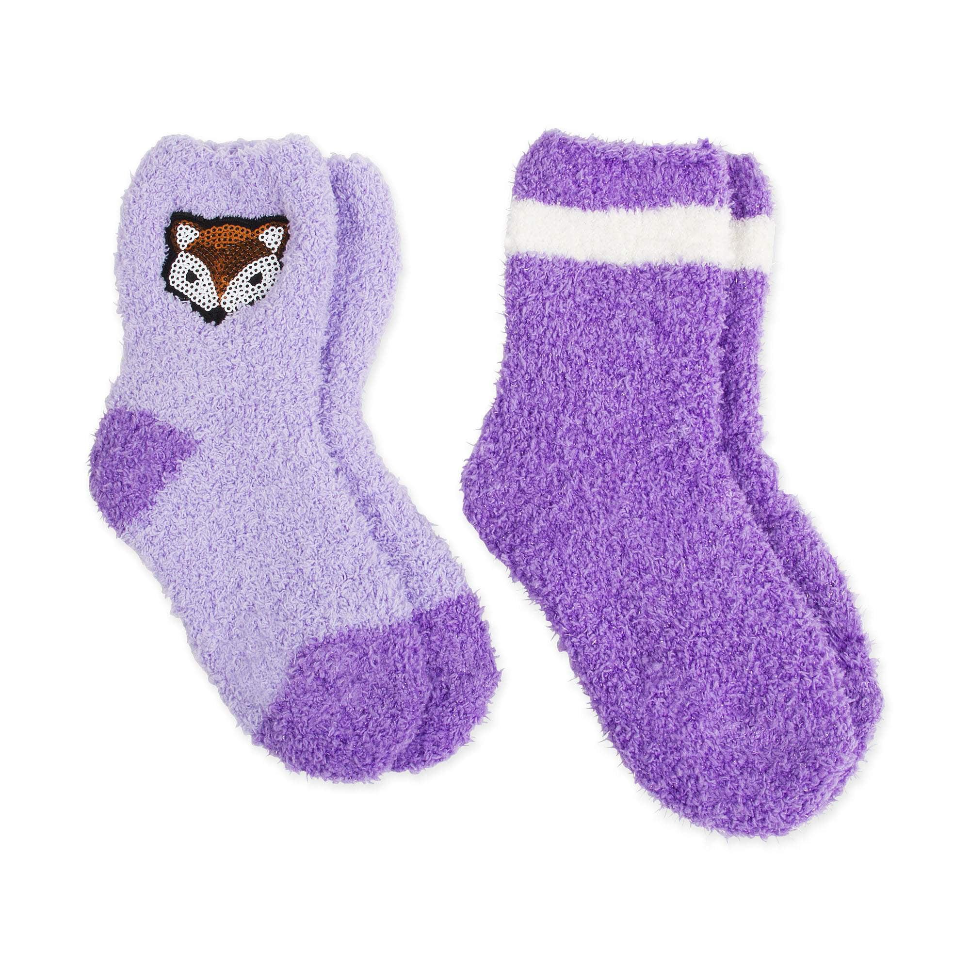 Faded Glory Girls' Fox Crew Socks, 2 Pairs