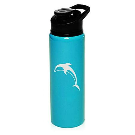MIP Brand 25 oz Aluminum Sports Water Travel Bottle Dolphin (Light-Blue)