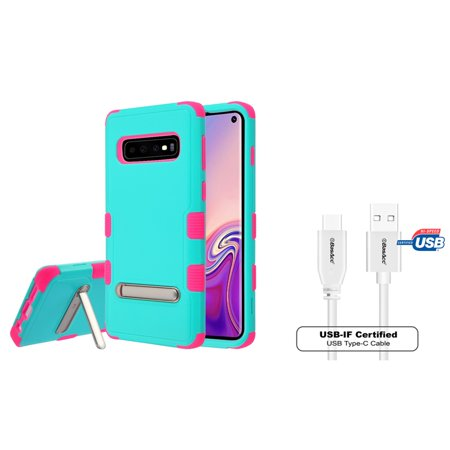 Insten Tuff Dual Layer Hybrid Stand PC/TPU Rubber Case Cover For Samsung Galaxy S10 - Teal/Hot Pink (Bundle with USB Type C Cable)