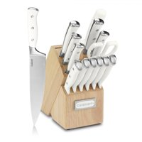Cuisinart C77WTR-15P 15 Pc White Triple Rivet Cutlery Block