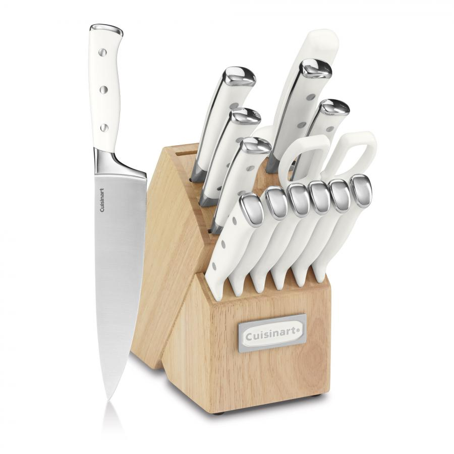Cuisinart Classic® Forged Triple Rivet 15-Piece Cutlery Set with Block, White/Stainless