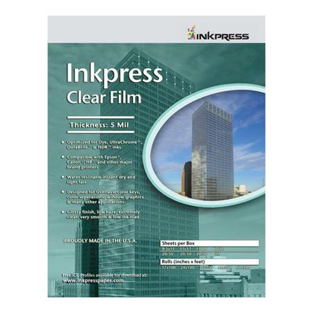 - Inkpress Clear Film 5 mil. Polyester Inkjet Film, 11x17