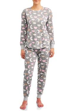 Secret Treasures Women's and Women's Plus 2-Piece Long Sleeve Top and Jogger Sleep Set
