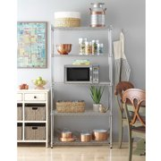"5 Tier Storage Shelves Wire Storage Shelves, Metal Shelves for Garage Metal Storage Shelving, Pantry Shelves Kitchen Rack Shelving Units and Storage, 35.43"" x 13.78"" x 70.87"", Chrome, S10147"