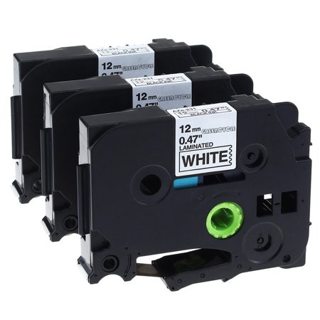 GREENCYCLE 3PK Compatible Black on White 12mm TZ Tze Tze-231 TZ-231 TZe231 TZ231 Laminated Label Tape for Brother P-touch PT-2730 PT-9800PCN PT-1010 Label Maker