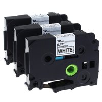 GREENCYCLE 3PK Black on White 12mm TZ Tze Tze-231 TZ-231 TZe231 TZ231 Laminated Label Tape for Brother P-touch PT-2730 PT-9800PCN PT-1010 Label Maker