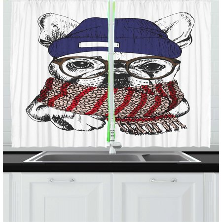 Bulldog Curtains 2 Panels Set, Hand Drawn Style Portrait of Cozy Winter Dog Wearing a Scarf Beanie and Glasses, Window Drapes for Living Room Bedroom, 55W X 39L Inches, Multicolor, by Ambesonne ()