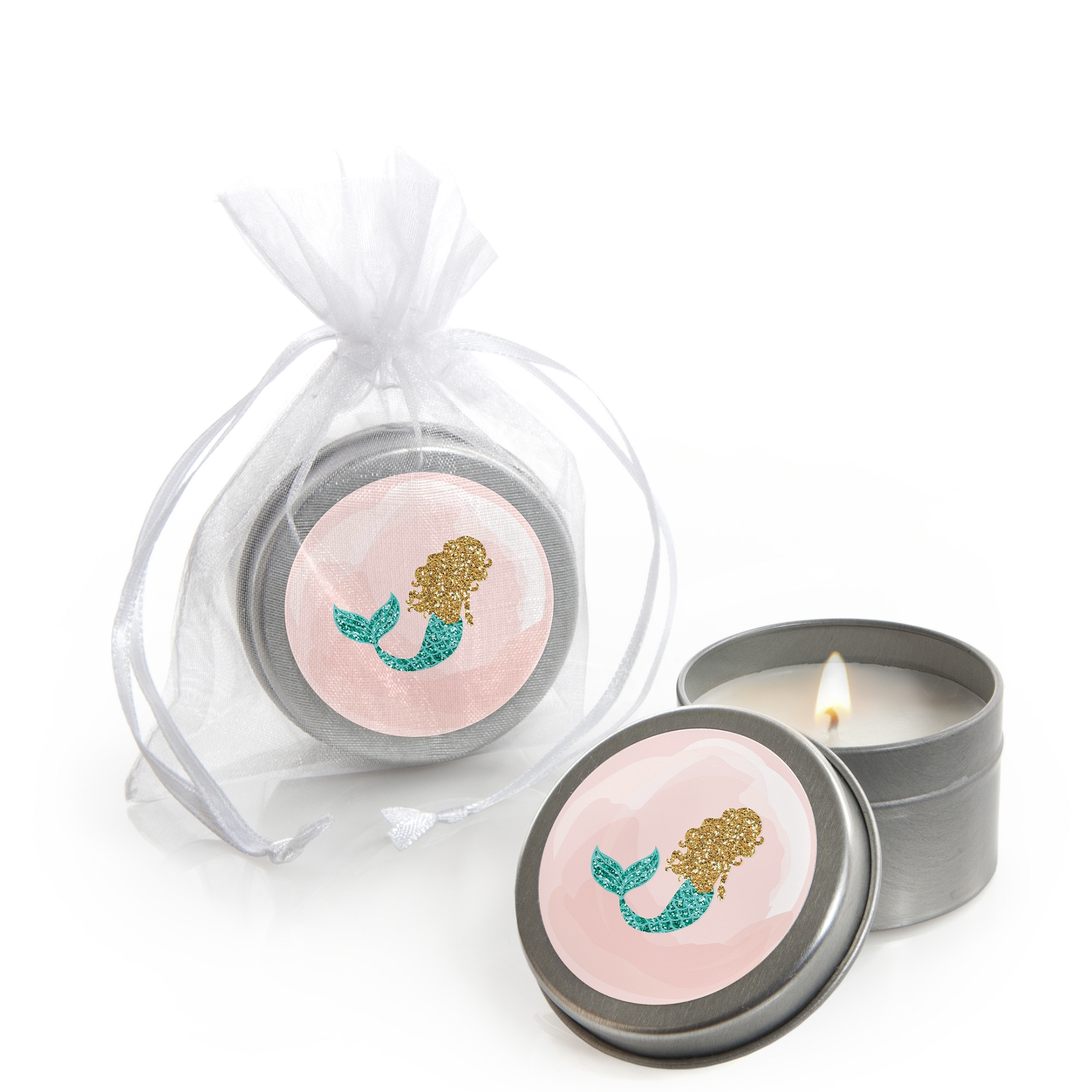 Let's Be Mermaids - Candle Tin Baby Shower or Birthday Party Favors (Set of 12)