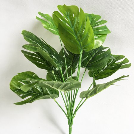 2 Bunches Green Jungle Plants Artificial Leaf Tropical Palm Leaves Simulation Plant Fake Leaf Wedding Party Home Decor](Jungle Leaf)