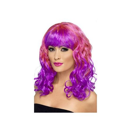 Medium Curly Duo Wig 42396 Smiffy's Pink/Purple - Cool Duos For Halloween