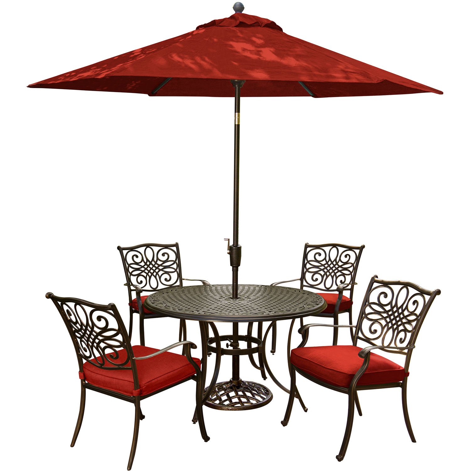 Hanover Traditions 5-Piece Outdoor Dining Set with Round Cast-Top Table, 4 Stationary Chairs, 9-Ft. Table Umbrella and Stand